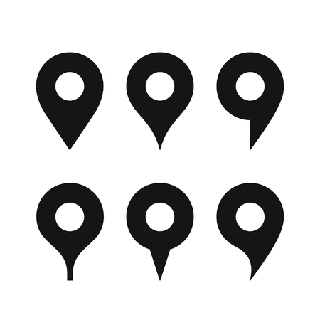 Set of a various shaped map pin icon, simple black icons isolated on white background 向量圖像
