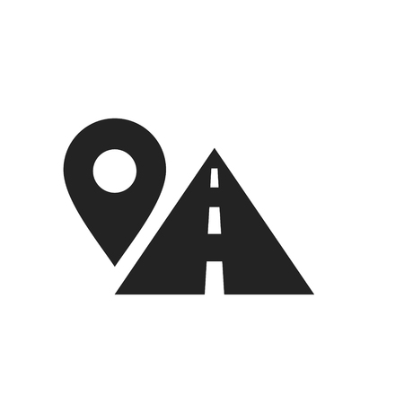 Route location symbol, map pin sign and road, black icon, vector illustration isolated on white background