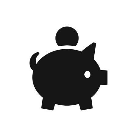 Piggy bank with coin simple black icon, accumulation money symbol, vector illustration isolated on white background 向量圖像
