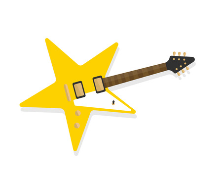 Electric guitar with a deck in star form, rockstar symbol concept, yellow star shaped guitar flat style vector illustration isolated on white background 向量圖像