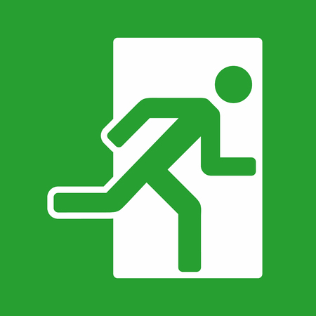 Exit sign, emergency exit icon, vector illustration on green background 向量圖像
