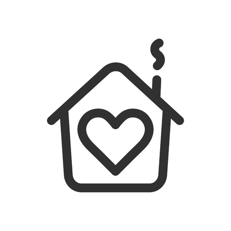 House with heart shape within, love home symbol, line style vector illustration isolated on white background Ilustração