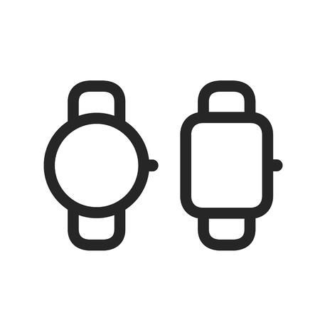 Smart watches simple line style icons vector illustration isolated on white background