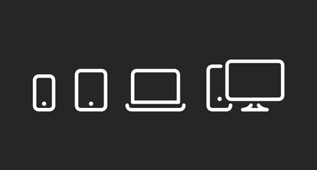 Devices icons set, cell phone, tablet, laptop and desktop pc, fat line style vector illustration isolated on black background Ilustração