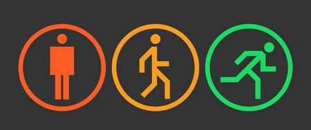 Stand, walk and run icons, states of the human body position, simple abstract man signs in circles vector illustration 向量圖像