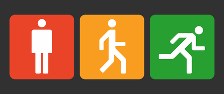 Stand, walk and run icons, states of the human body position, simple abstract man signs vector illustration
