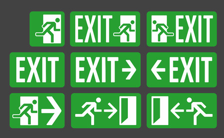 Exit green color signs set, emergency exit icon collection 向量圖像