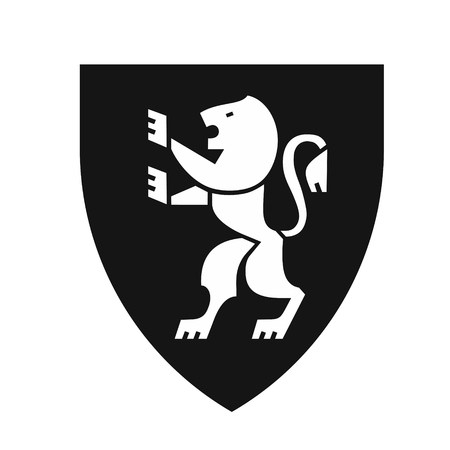 Heraldic lion on shield, coat of arms in modern flat style, symbol of strength, courage and generosity, black color icon vector illustration isolated on white background Illustration