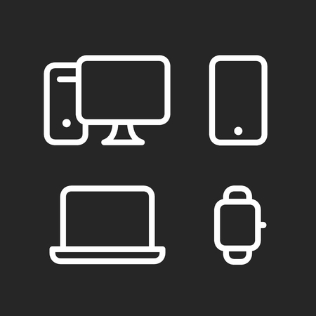 Device Icons set, desktop computer, smartphone, laptop and smartwatch, fat line style vector illustration isolated on black background Ilustrace