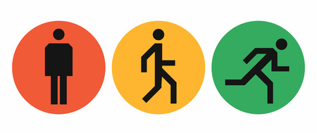 Stand, walk and run icons in red, yellow and green circles, states of the human body position, simple abstract man signs vector illustration isolated on white background