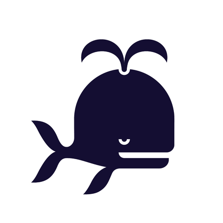Stylized whale icon, black color vector illustration isolated on white background Ilustrace