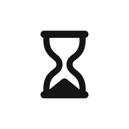 Hourglass icon, simple black sandglass symbol vector illustration isolated on white background 向量圖像