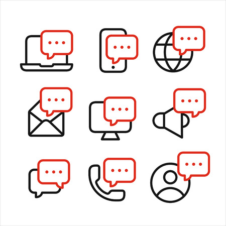 Media and devices symbols with speech bubbles set, message receiving, incoming information concept, line style icons vector illustration isolated on white background 向量圖像