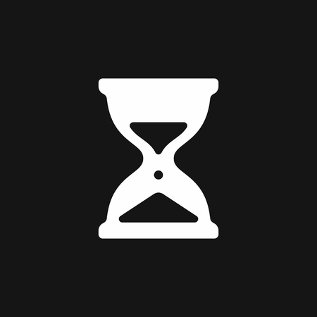 Hourglass icon, simple sandglass symbol vector illustration isolated on black background 向量圖像