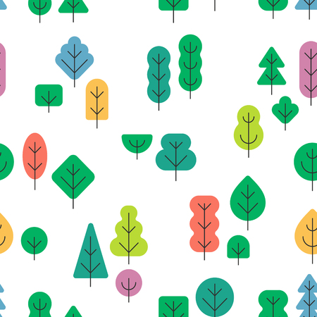 Seamless forest pattern with different shapes and colors trees on white background in simple flat style