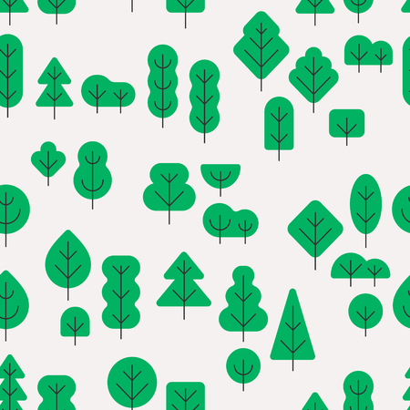 Seamless forest pattern with different shapes trees on white background in minimalistic flat style