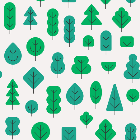 Seamless forest pattern with different shapes trees shades of green colors on white background in simple flat style 向量圖像