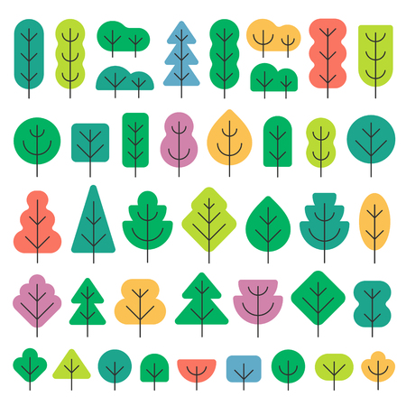 A set of trees of different shapes and colors in simple flat style vector illustration isolated on white background