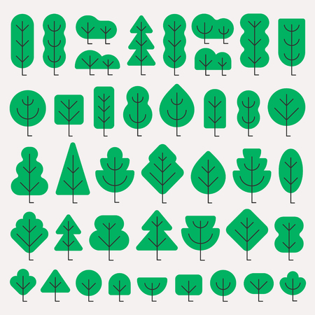 A set of trees of different shapes and size in simple flat style vector illustration isolated on white background
