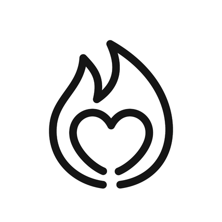 Heart on fire, symbol of passion, simple line style black icon vector illustration isolated on white background