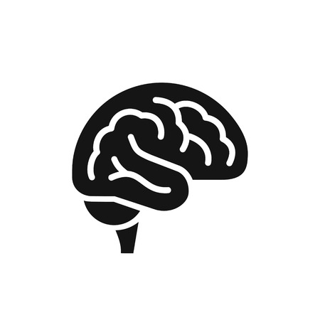 Brain simple black icon, intellect symbol, side view vector illustration isolated on white background