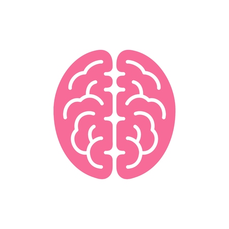 Brain pink color top view icon, intellect symbol vector illustration isolated on white background  イラスト・ベクター素材
