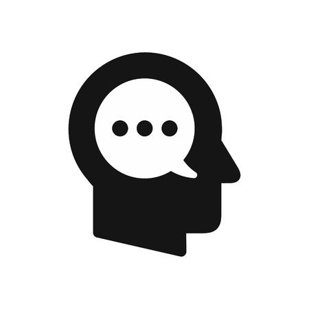 Human head profile with speech bubble symbol, inner monologue, thoughts concept simple black icon, vector illustration isolated on white background