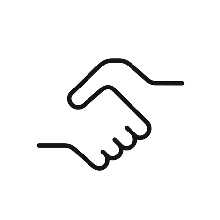Handshake icon, a symbol of a signed contract, greetings, friendship, simple black color one line vector illustration isolated on white background 矢量图像
