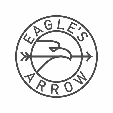 Eagle with an arrow in beak emblem in circle vector illustration isolated on white background