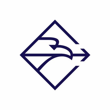 Eagle hold arrow in beak, rhombus shape emblem vector illustration isolated on white background