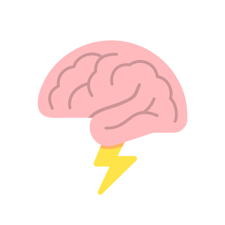 Brain like cloud with lightning, brainstorm, power of mind concept, vector illustration isolated on white background