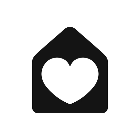 Heart sign in house black color simple icon, love home symbol, vector illustration isolated on white background 矢量图像