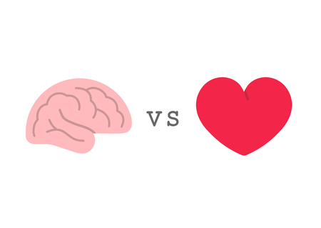 Heart vs brain, logic and feel choice concept, flat style icons vector illustration isolated on white background  イラスト・ベクター素材