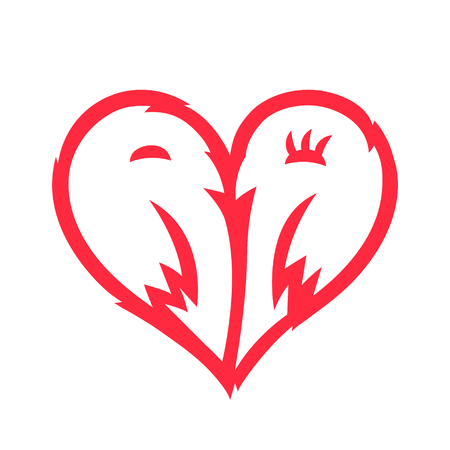 Two kissing birds, in the shape of a heart sign, a symbol of a couple in love, a simple illustration of red color isolated on white background