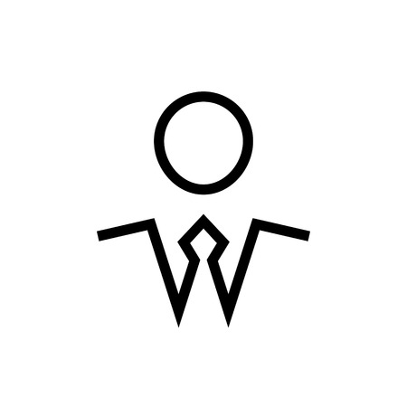 Businessman symbol, man in a tie black color simple icon, vector illustration isolated on white background