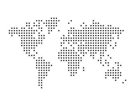 World map drawn with dots, can be used in infographics, simple monochrome black color vector illustration isolated on white background  イラスト・ベクター素材