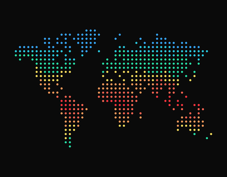 Dots world map, with climatic zones, colorful vector illustration isolated on black background