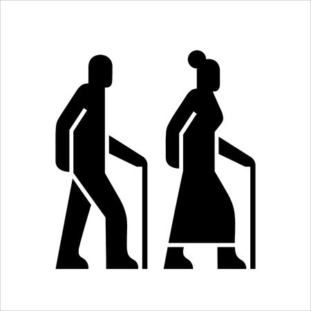 Older people on a walk sign, icons silhouettes of a man and a woman aged with a cane, senior adult symbol, elderly couple, black color simple vector illustration isolated on white background