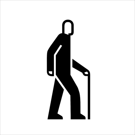 Man with a cane on a walk icons, senior symbol, black color simple vector illustration isolated on white background  イラスト・ベクター素材