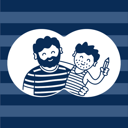 Father and son, humorous family vector illustration on stripes background  イラスト・ベクター素材