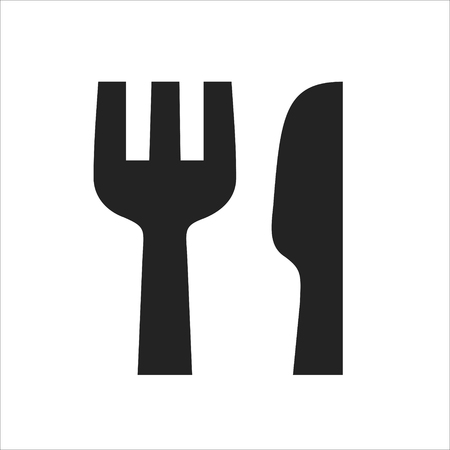 Fork and knife black simple icon, restaurant symbol vector illustration isolated on white background
