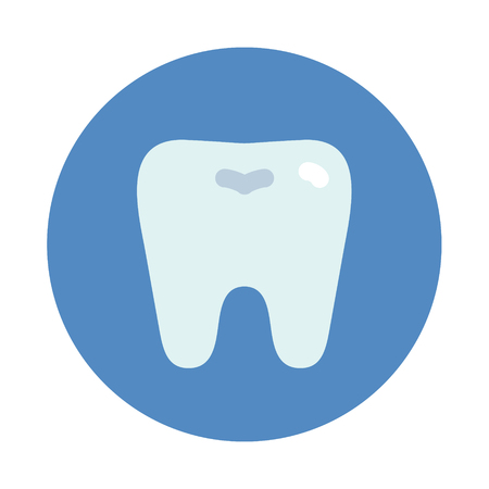 Tooth icon on blue round, dentist symbol flat sryle vector illustration isolated on white background