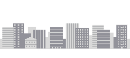 Modern city panorama in simple flat style grey shades vector illustration on white background