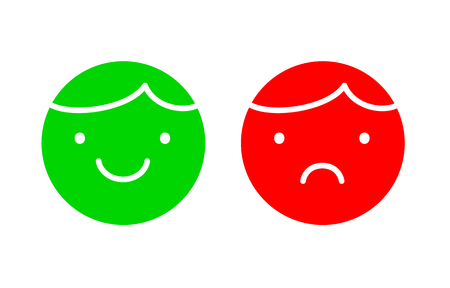 Happy and unhappy faces simple icons, green and red, yes or no symbols vector illustration on white background  イラスト・ベクター素材