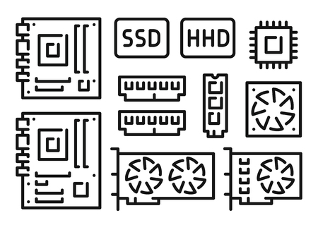 Motherboard, video card, cpu, ram, disk, computer components icons set vector illustration on white background  イラスト・ベクター素材