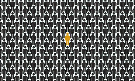 Menschenmenge mit der hervorgehobenen Person, Konzept der Einzigartigkeitsvektorillustration
