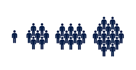 Different groups of people, crowd, infographics vector illustration on white background 矢量图像