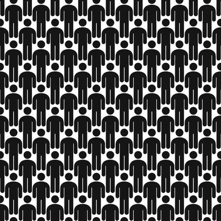 Crowd of people seamless pattern background vector illustration