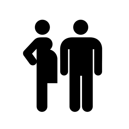 Pregnant woman and man couple icon style vector illustration on white background