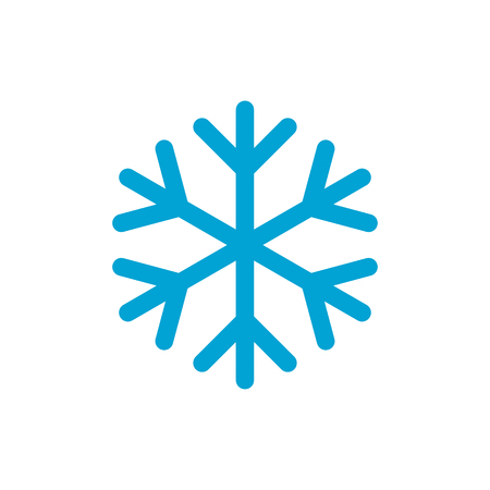 Snowflake simple blue color icon vector illustration isolated on white background